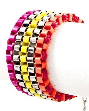 Schmuckanthony Ethno Boho Hippie Bracelet Armband breite Maschen hochwertig lackiert Neon Gelb Fuchsia Pink Orange 3,3cm