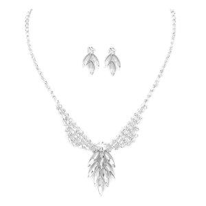 Collar estilo collier color plata-blanco vidrio