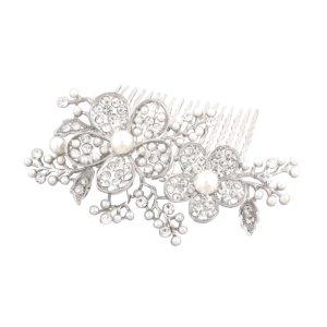 Schmuckanthony Glamour Brautschmuck Hochzeit Haarkamm Haarschmuck Blumen Blätter Perlen Weiß Kristall klar Transparent 9 cm Lang
