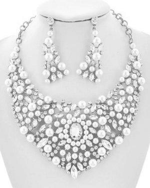Schmuckanthony Glamour Luxus Schmuckset Set Kette Ohrringe Perlen Weiß Kristall Klar Transparent Silber