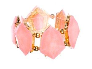Schmuckanthony Gold Armband Bracelet hochwertigen geschliffenen Acryl Peach Rosa 4cm breit