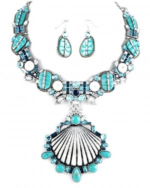 Schmuckanthony Statement Unikat Luxus Schmuckset Set Kette Ohrringe Muschel Anhänger Natur Steinen Türkis Glas Blau Silber