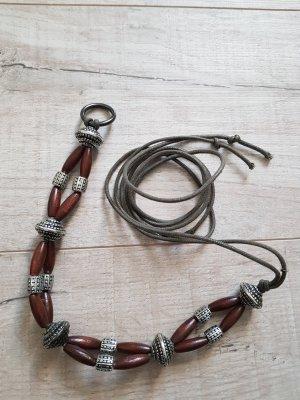 Cintura in tessuto argento-marrone scuro