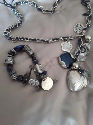 Cadena de eslabón color plata-azul