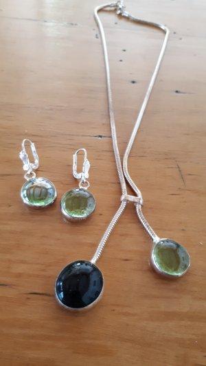 Pendientes colgante color plata-verde