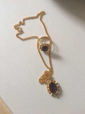 Collana oro-marrone-viola
