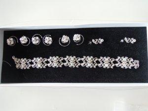 Schmuckset EMMERLING Braut Brautschmuck Strass Kette Halskette Curlies Ohrringe Halsband Collier Brauthaarschmuck Abiball silberfarben