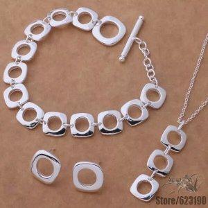 Schmuckset Halskette Armband Ohrringe Quadrate Ringe Versilbert