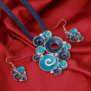 Schmuckset Halskette Collier + Ohrringe blau / türkis mit Strass