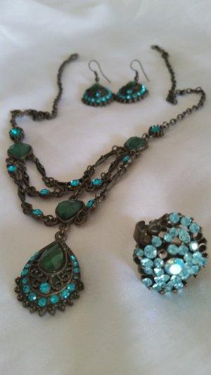 Schmuckset-Halskette, Ohrringe, Ring