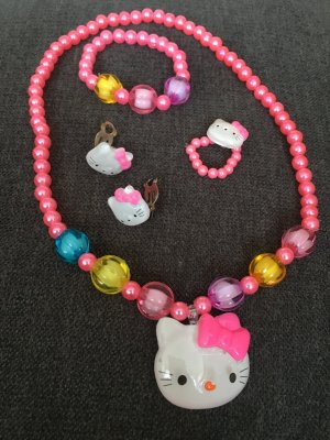 Schmuckset Hello Kitty Kette Ring Armband Ohrringe