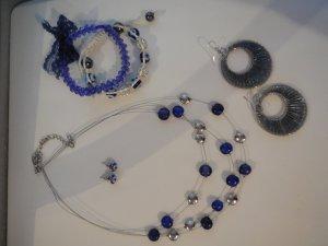 Schmuckset in Blau, Ohrringe + Armband