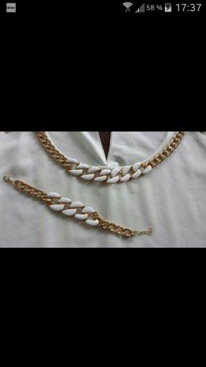 Schmuckset Kette + Armband gold/weiß