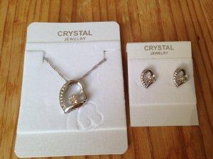 Schmuckset Kette + Ohrringe mit Herz und Kristallen Weißgold plattiert