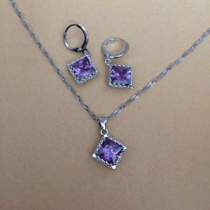 Schmuckset Kette und Ohrringe 925 Silber plattiert lila