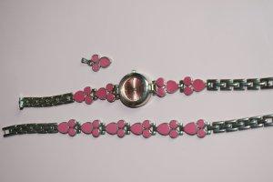 Schmuckset mit Uhr, Armband und Kettenanhänger silber pink Biscay - Wie neu