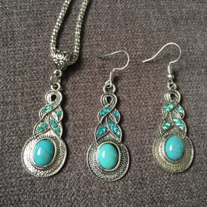 Necklace silver-colored-turquoise