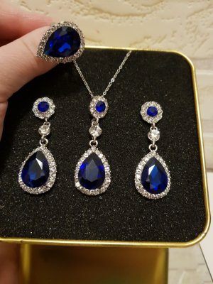 Orecchino a pendente argento-blu