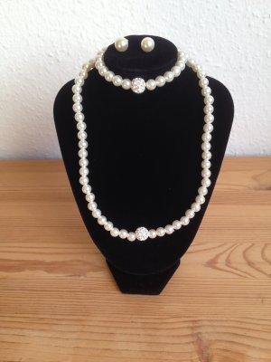Schmuckset Ohrringe + Kette + Armband aus Perlen und Strass