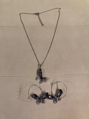 Schmuckset Ohrringe und Kette mit Lila Schmetterling Anhänger