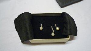 Schmuckset Perlenset 925er Sterlingsilber Anhänger + Ohrringe mit Zirkonia + Süßwasserzuchtperlen