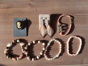 Schmuckset rosé mit Armbänder Ohrringe und Brosche