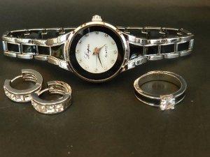 Analoog horloge zilver-zwart