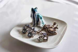 Schmuckteller Organisation Ablage Katze Blau Süß Schmuckkästchen