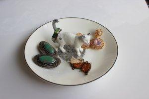 Schmuckteller Organisation Ablage Katze silber weiss Süß Schmuckkästchen