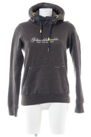Schmuddelwedda Kapuzensweatshirt braun Schriftzug gedruckt Casual-Look