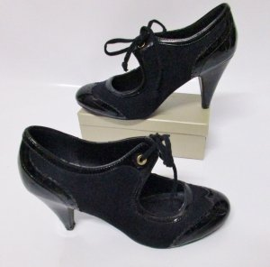 Schmürpumps High Heels Atmosphere Größe 41 Schwarz Budapester Style 50er Rockabilly Pumps