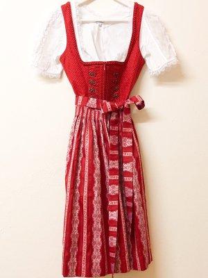 Angermaier Vestido Dirndl rojo ladrillo-blanco