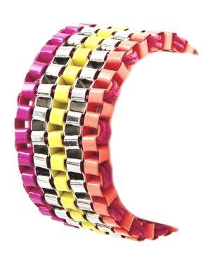 Schnäppchen Ethno Boho Hippie Bracelet Armband Silber breite Maschen hochwertig lackiert Neon Gelb Fuchsia Pink Orange 3,3 cm Breit