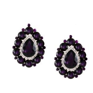 Pendientes de clip violeta oscuro