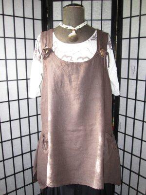 Camisa tipo túnica marrón oscuro Lino