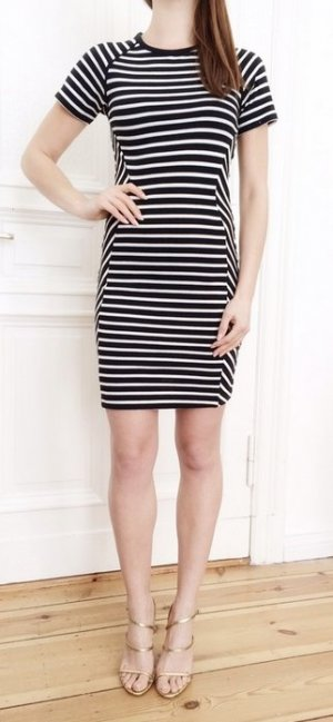 * SCHNÄPPCHEN! Nur HEUTE! * 119€ French Connection Baumwoll Kleid weiß schwarz gestreift sexy XS 34