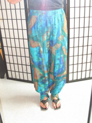 Pantalon large multicolore soie