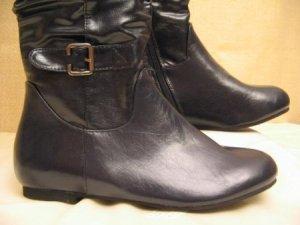 Schnallen Boots Größe 38 Dunkel Blau Flats Stiefel