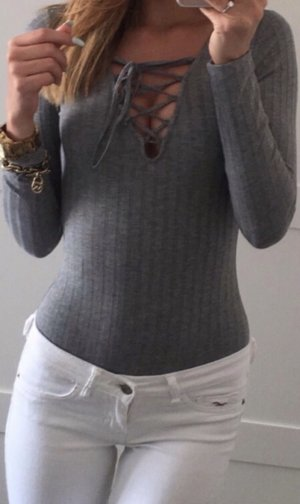 H&M Top collo ad anello grigio