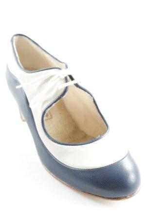 Tacones con cordones beige claro-azul oscuro estilo clásico