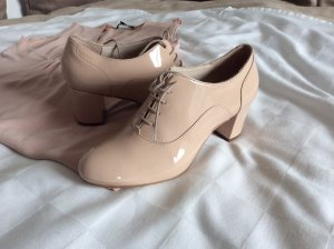 Bata Lace-up Pumps dusky pink-nude leather
