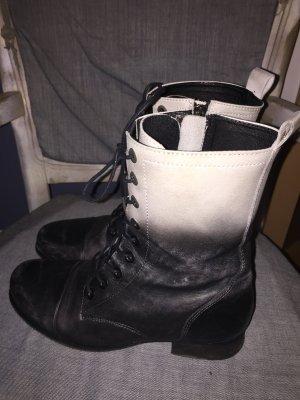 Schnür - Stiefelette von Diesel, Gr. 39, schwarz - weiß, Vintage