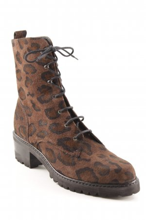 Lace-up Booties animal pattern casual look