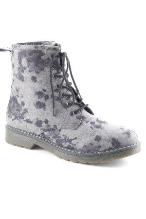 Schnür-Stiefeletten grau Blumenmuster Casual-Look