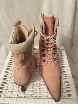 Schnür-Stiefeletten rosa mit Absatz
