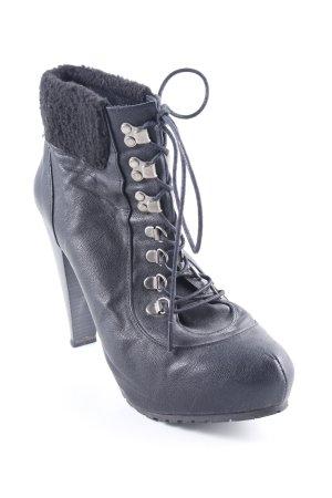 Schnür-Stiefeletten schwarz Elegant