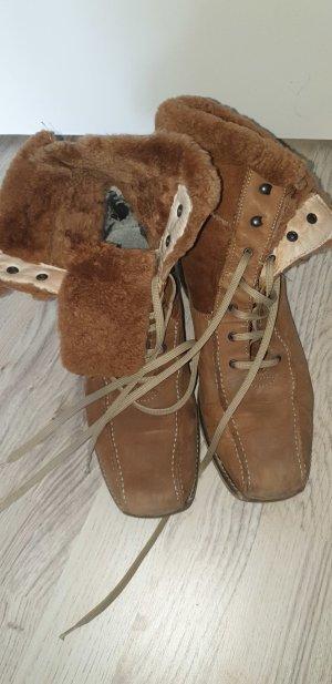 van der Laan Botas con cordones marrón grisáceo-marrón arena
