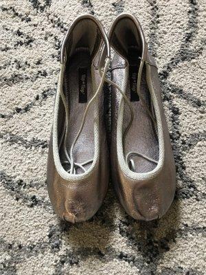 Schnürballerinas- Flip*Flop- 38 - Silber - ungetragen