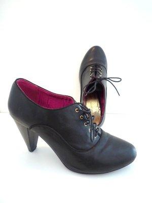 *Schnürbooties* Schwarze hohe Schuhe aus Leder, Gr. 37
