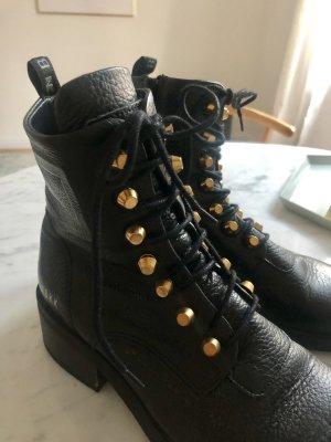 Nubikk Bottes à lacets noir-doré cuir